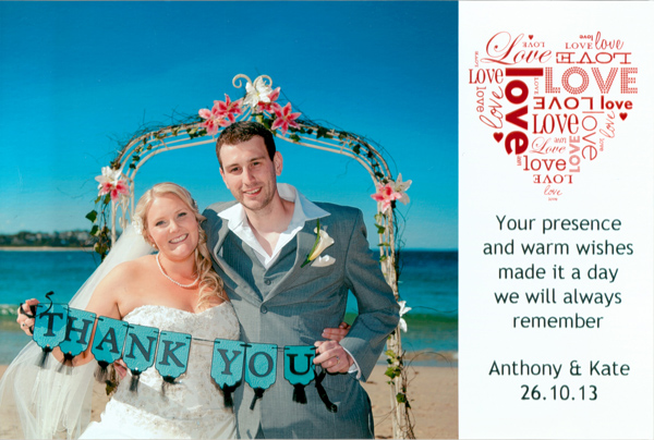 Wedding limousine thank you card ulladulla milton south coast